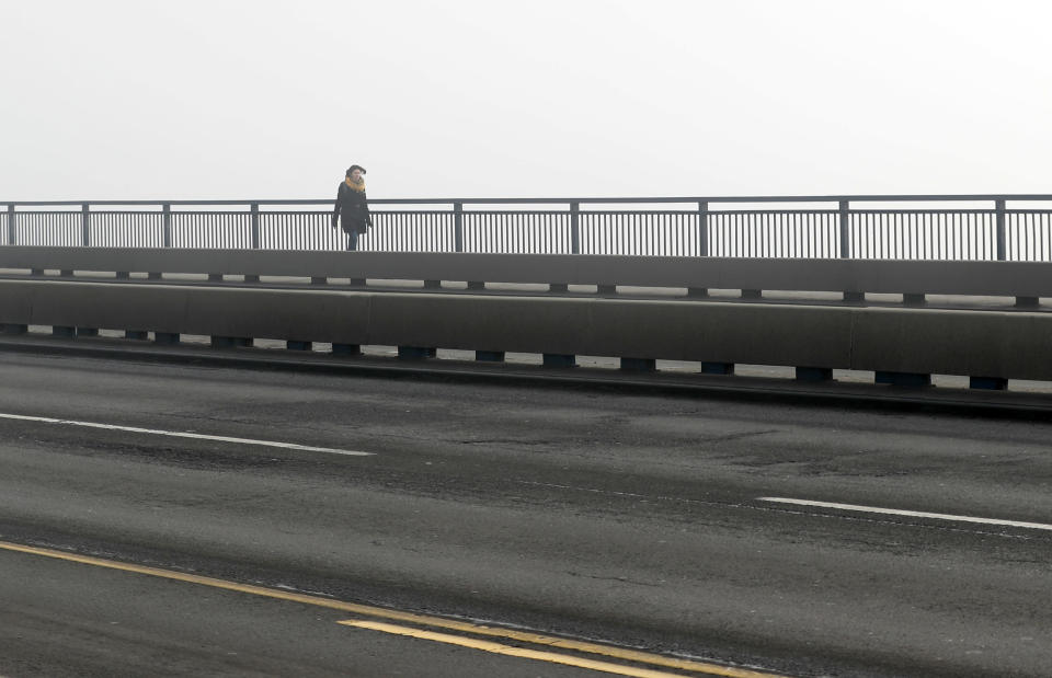 A girl walks across a bridge in Belgrade, Serbia, Wednesday, Jan. 15, 2020. Serbia's government on Wednesday called an emergency meeting, as many cities throughout the Balkans have been hit by dangerous levels of air pollution in recent days, prompting residents' anger and government warnings to stay indoors and avoid physical activity.(AP Photo/Darko Vojinovic)