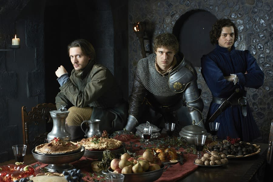 "David Oakes as George, Duke of Clarence, Max Irons as King Edward, and Aneurin Barnard as Richard, Duke of Gloucester in ""The White Queen"" on Starz."