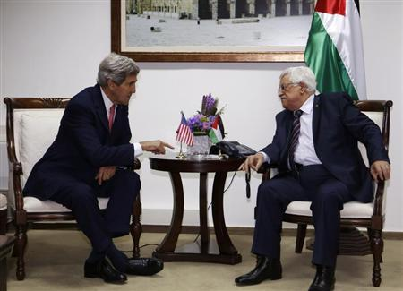 U.S. Secretary of State Kerry meets Palestinian President Abbas in Ramallah