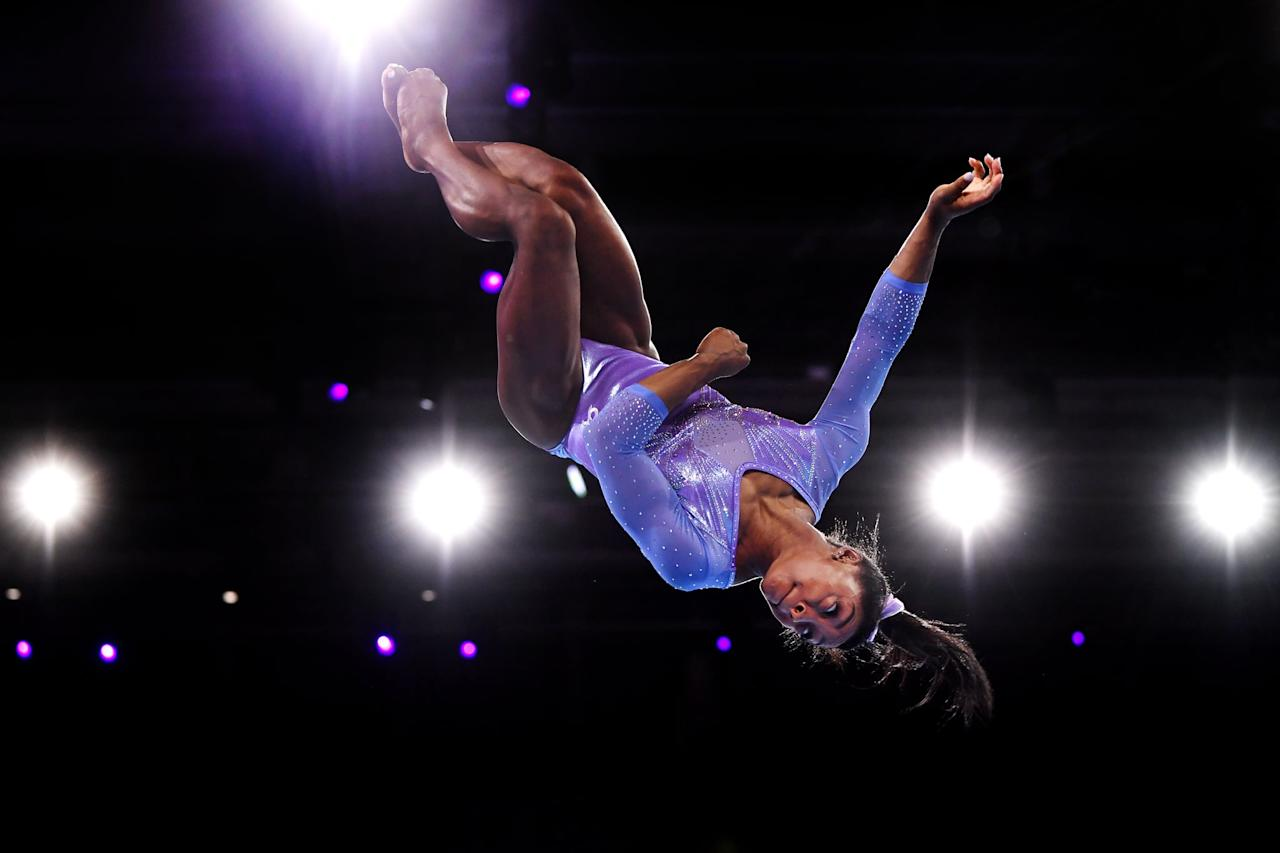 """<p>Simone has won five gold medals in the individual <a href=""""https://www.popsugar.com/fitness/Simone-Biles-Floor-Routine-Videos-46464665"""" class=""""ga-track"""" data-ga-category=""""Related"""" data-ga-label=""""https://www.popsugar.com/fitness/Simone-Biles-Floor-Routine-Videos-46464665"""" data-ga-action=""""In-Line Links"""">floor exercise</a> event. She won her first medal in 2013 and her most recent in 2019. There were no World Championships in 2016 because of the Olympic Games, and Simone took a year off from competition in 2017; in that sense, she's undefeated.</p>"""
