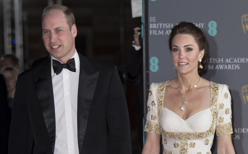 LONDON, ENGLAND - FEBRUARY 02: Prince William, Duke of Cambridge and Catherine, Duchess of Cambridge attend the EE British Academy Film Awards 2020 at Royal Albert Hall on February 2, 2020 in London, England. (Photo by Mark Cuthbert/UK Press via Getty Images)