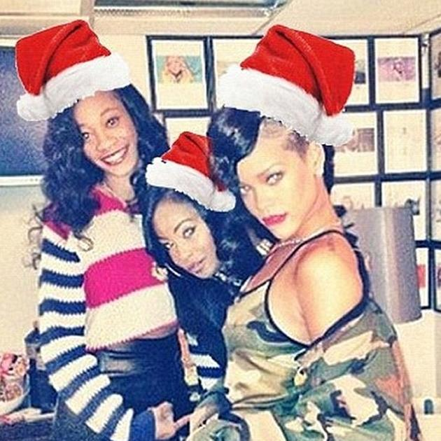Rihanna and her pals donned their Santa hats to celebrate the holidays. Rihanna of course perfected her sexy Santa pose. [Instagram/badgirlriri]