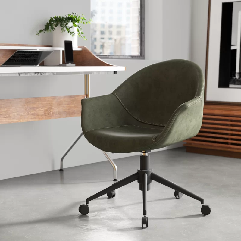 """<h2>Ines Task Chair</h2><br><strong>Best For: Style & Comfort </strong><br>This super sleek mid-century bucket-style task chair features a curved seat and back crafted from rounded wood, an iron base, and faux leather upholstery.<br><br><strong>The Hype:</strong> 4.7 out of 5 stars and 100 reviews on <a href=""""https://www.allmodern.com/furniture/pdp/ines-task-chair-a000864765.html"""" rel=""""nofollow noopener"""" target=""""_blank"""" data-ylk=""""slk:AllModern"""" class=""""link rapid-noclick-resp"""">AllModern</a><br><br><strong>Comfy Butts Say: </strong>""""So easy to put together and SO comfortable for even long term periods. Easy swivel. Very chic in any room. Highly recommend.""""<br><br><br><br><strong>All Modern</strong> Ines Task Chair, $, available at <a href=""""https://go.skimresources.com/?id=30283X879131&url=https%3A%2F%2Fwww.allmodern.com%2Ffurniture%2Fpdp%2Fines-task-chair-a000864765.html"""" rel=""""nofollow noopener"""" target=""""_blank"""" data-ylk=""""slk:All Modern"""" class=""""link rapid-noclick-resp"""">All Modern</a>"""