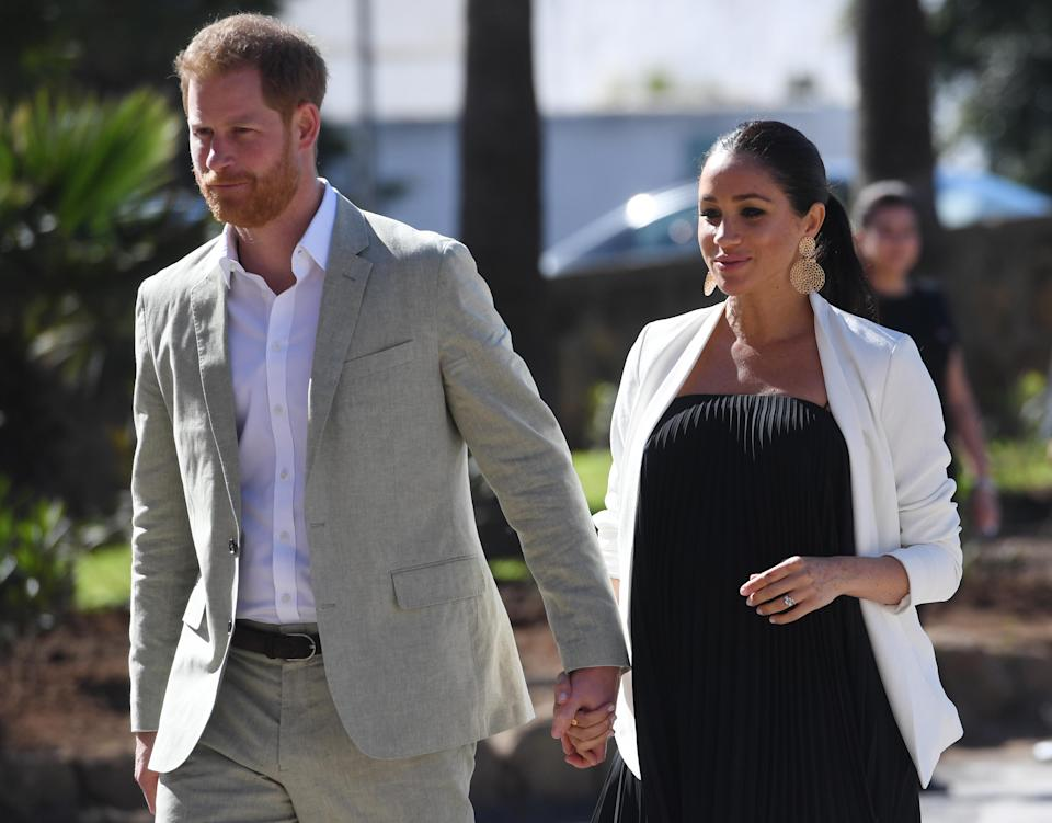 Harry and Meghan, pictured in Morocco, have not personally revealed any favourite baby names [Photo: PA]