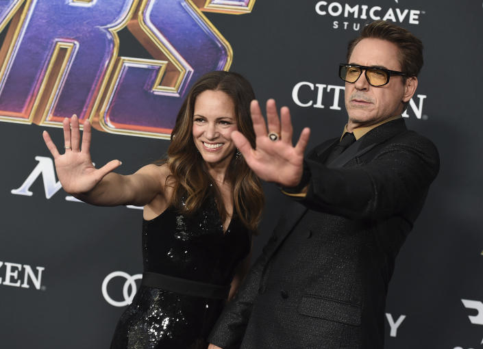 "Susan Downey, left, and Robert Downey Jr. arrive at the premiere of ""Avengers: Endgame"" at the Los Angeles Convention Center on Monday, April 22, 2019. (Photo by Jordan Strauss/Invision/AP)"