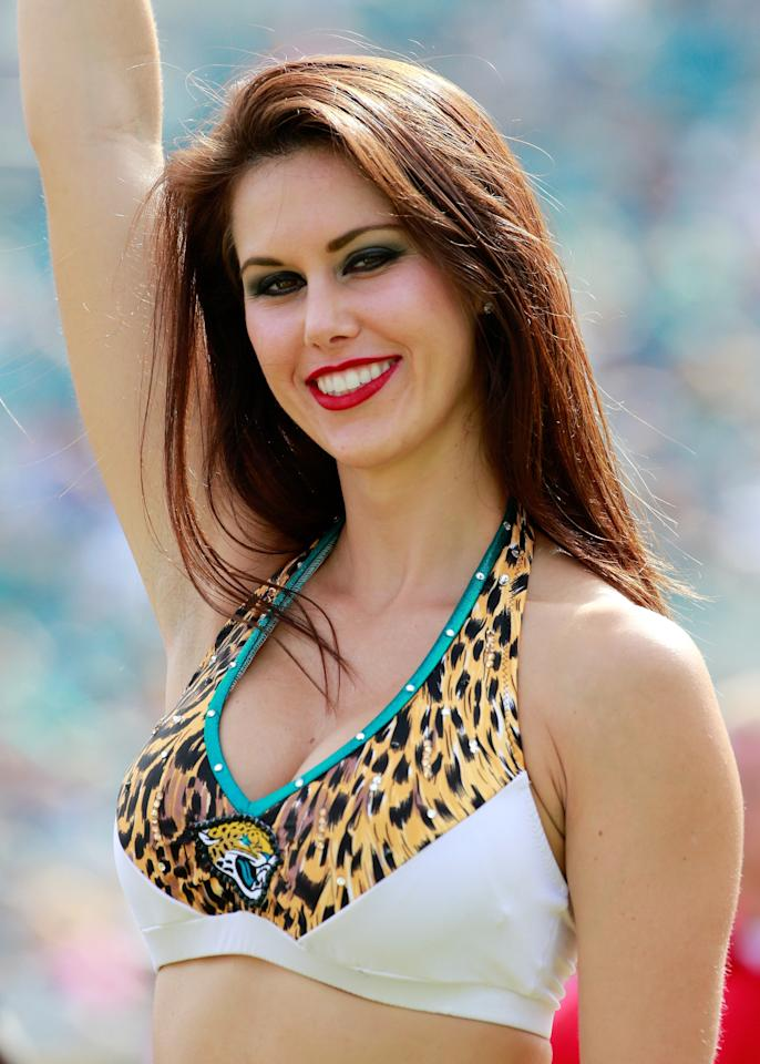 JACKSONVILLE, FL - SEPTEMBER 29: A Jacksonville Jaguars cheerleader performs during the game against the Indianapolis Colts at EverBank Field on September 29, 2013 in Jacksonville, Florida. (Photo by Sam Greenwood/Getty Images)