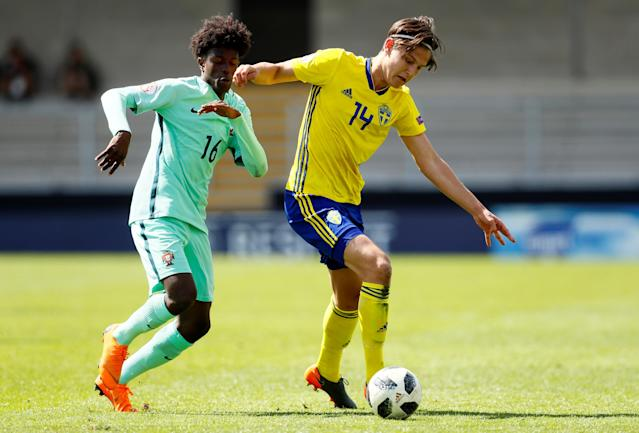 Soccer Football - UEFA European Under-17 Championship - Group B - Norway v Slovenia - Pirelli Stadium, Loughborough, Britain - May 10, 2018 Sweden's Rasmus Wikstrom in action with Portugal's Felix Correia Action Images via Reuters/Jason Cairnduff