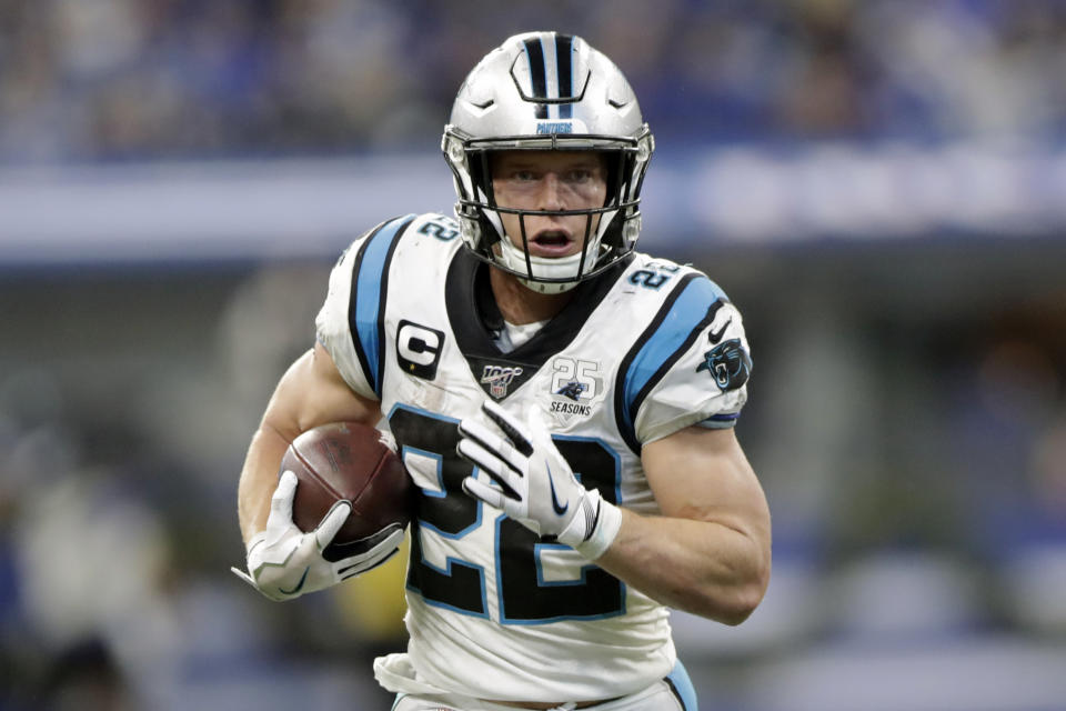 Christian McCaffrey is starting a fund to aid health care workers on the front lines of the COVID-19 crisis in the Carolinas. (AP Photo/Michael Conroy, File)