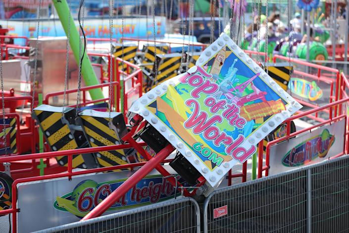 The Star Flyer funfair ride at Planet Fun in Carrickfergus, Co Antrim, which collapsed on Saturday evening, injuring six people (PA)