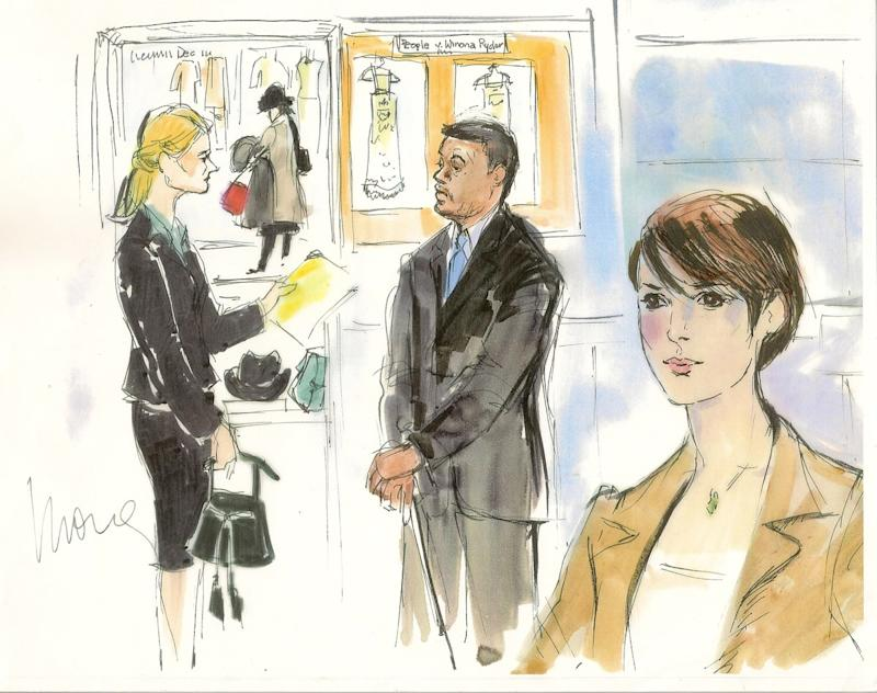 Edwards was also there to capture the original modern-day courtroom celeb, Winona Ryder, when she went on trial for shoplifting $5,560 worth of items from Saks Fifth Avenue in 2002. The $760 cashmere Marc Jacobs sweater she took was nowhere to be found in court, though; a subdued Ryder, who did not testify, kept it mum in the courtroom and also kept her look subdued.