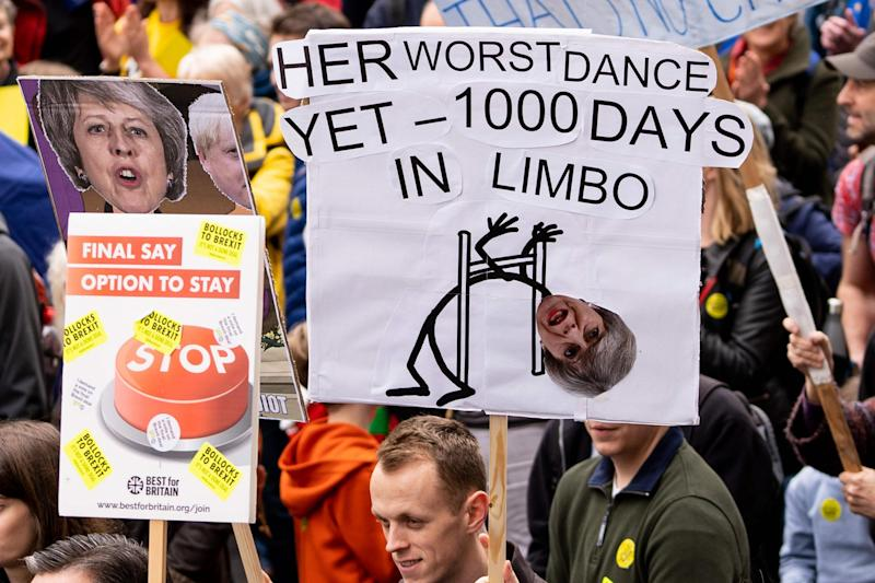 A Theresa May-related banner (AFP/Getty Images)