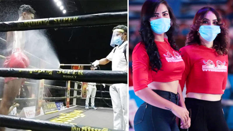 The Nicaraguan boxing event, pictured here using some strict measures amid the crisis.