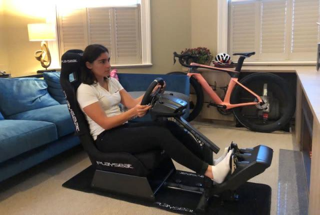 W Series champion Jamie Chadwick is pictured at home on her Esports League set-up, in her apartment in Mayfair, London