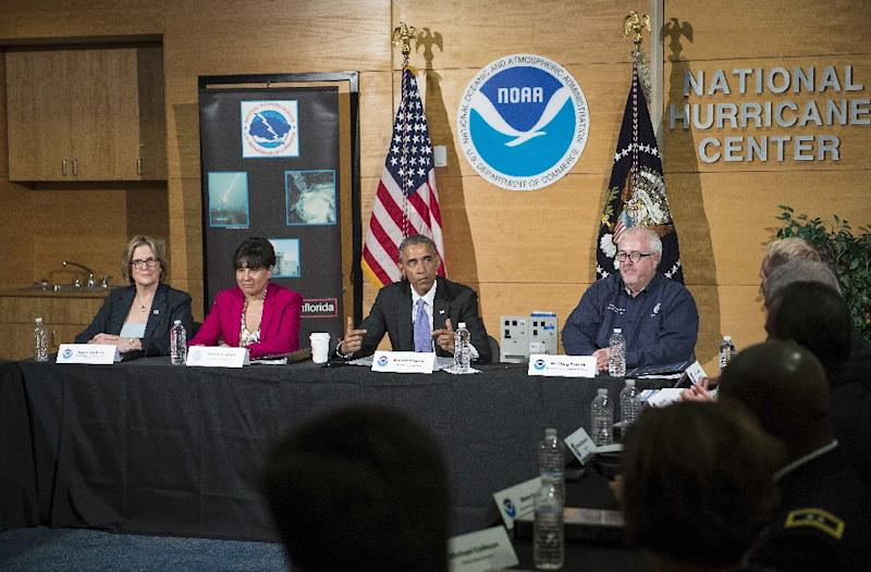 US President Barack Obama speaks to the press after receiving the yearly hurricane season outlook and preparedness briefing at the National Hurricane Center in Miami on May 28, 2015