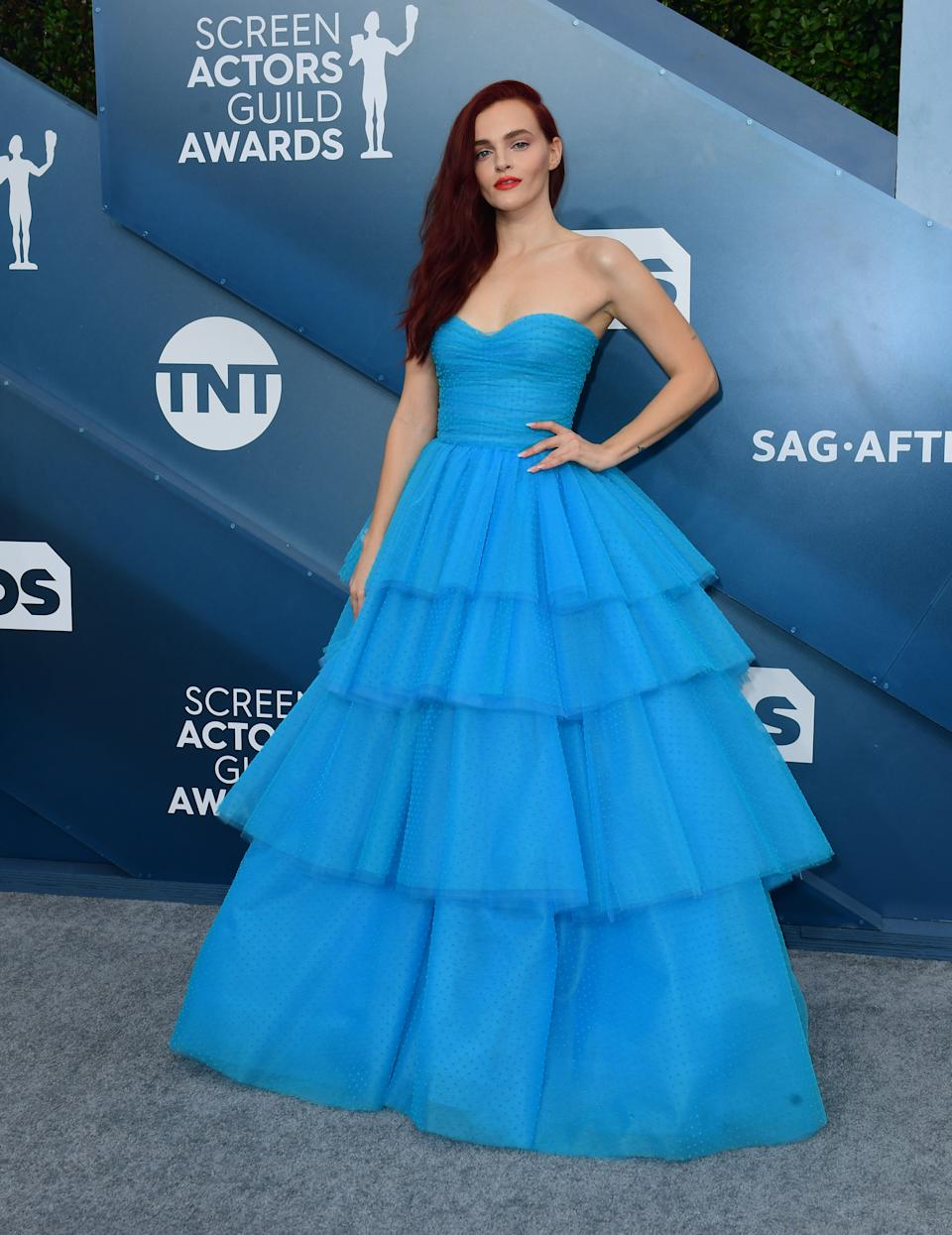 """<h2>Madeline Brewer in Monique Lhuillier</h2><br>This <em>The Little Mermaid</em>-inspired tiered blue gown on Madeline Brewer is as perfect as her performance in both <em>Hustlers</em> and <em>The Handmaid's Tale</em>.<span class=""""copyright"""">Photo by FREDERIC J. BROWN/AFP via Getty Images.</span>"""