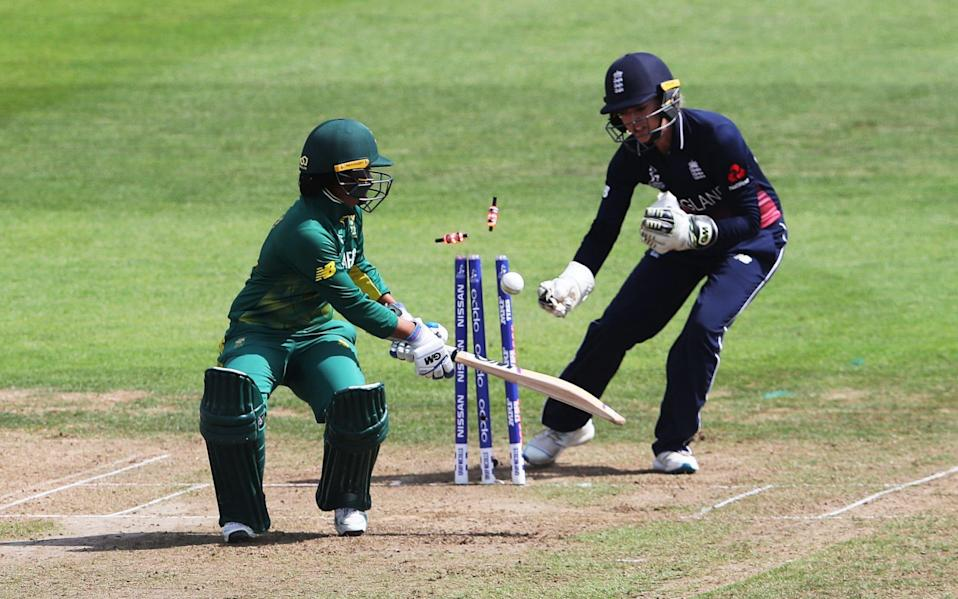 South Africa's Trisha Chetty is stumped by England's Sarah Taylor during the ICC Women's World Cup Semi Final match at The County Ground, Bristol - David Davies /David Davies