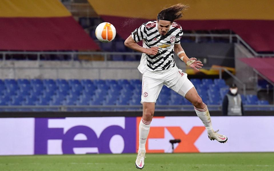 Edinson Cavani of Manchester United scores their side's second goal during the UEFA Europa League Semi-final Second Leg match between AS Roma and Manchester United at Stadio Olimpico - Tullio Puglia/UEFA via Getty Images