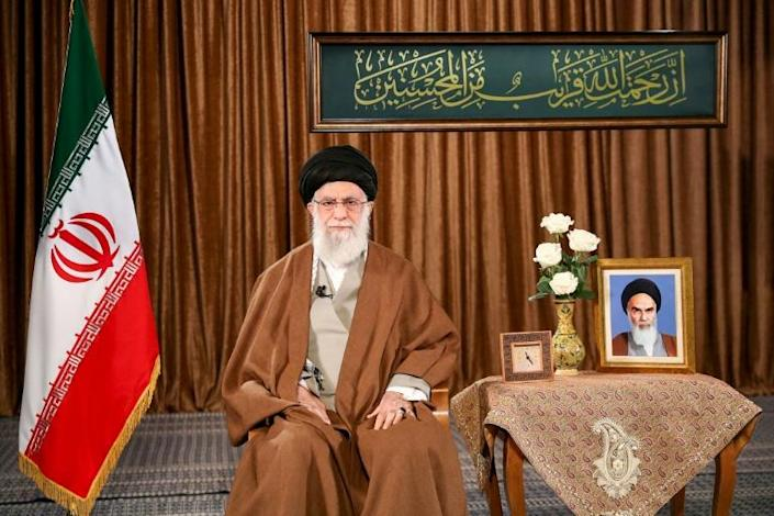 """Speaking in a televised address, Khameini charged in a message directed at Washington: """"No one trusts you. You are capable of bringing into our country a drug that will keep the virus alive and prevent its eradication."""" (AFP Photo/-)"""