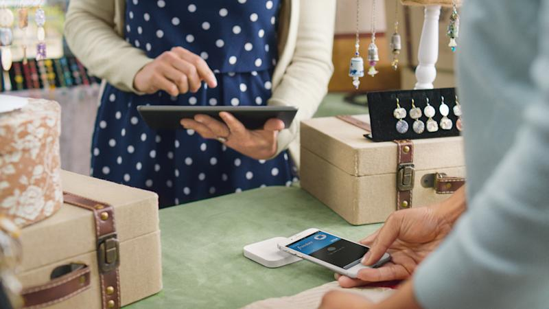 Square reader being used at store.