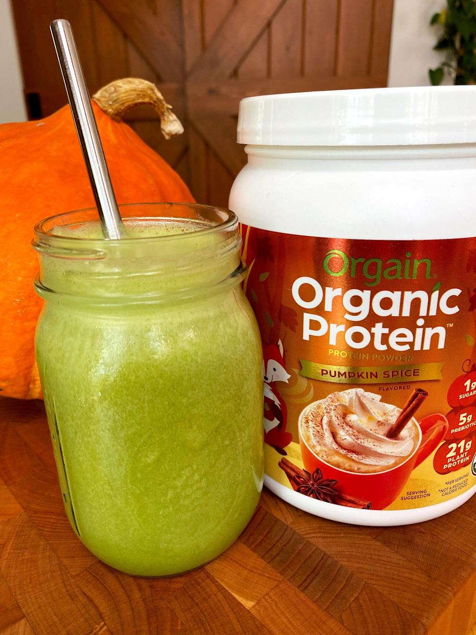 """<p>The first thing I made using Orgain Pumpkin Spice Protein Powder was a simple green smoothie, so I could really get a sense of the flavor. I used half a banana to sweeten it, but the protein powder was sweet enough. As I expected, it had a warm, perfectly spiced, fall flavor with an oh-so-creamy texture that I love. </p> <p>Here are two smoothie recipes you can use to try out this Orgain Pumpkin Spice Protein Powder:</p> <ul> <li><a href=""""https://www.popsugar.com/fitness/pumpkin-protein-smoothie-recipe-44075463"""" class=""""link rapid-noclick-resp"""" rel=""""nofollow noopener"""" target=""""_blank"""" data-ylk=""""slk:Pumpkin protein smoothie"""">Pumpkin protein smoothie</a></li> <li><a href=""""https://www.popsugar.com/fitness/Pumpkin-Spice-Latte-Protein-Smoothie-44075740"""" class=""""link rapid-noclick-resp"""" rel=""""nofollow noopener"""" target=""""_blank"""" data-ylk=""""slk:Pumpkin spice latte protein smoothie"""">Pumpkin spice latte protein smoothie</a></li> </ul>"""