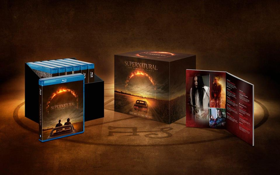 A picture of the entire series of Supernatural Blu-ray set