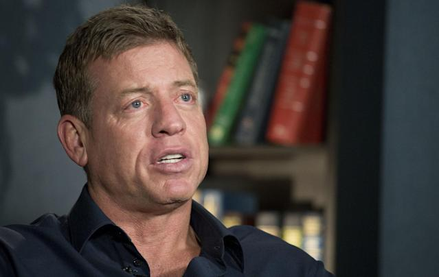 "Hall of Fame quarterback Troy Aikman reportedly will be part of Fox's ""Thursday Night Football"" broadcasts. (AP)"