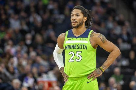 FILE PHOTO: Mar 9, 2019; Minneapolis, MN, USA; Minnesota Timberwolves guard Derrick Rose (25) looks on during the second half against the Washington Wizards at Target Center. Mandatory Credit: Jesse Johnson-USA TODAY Sports