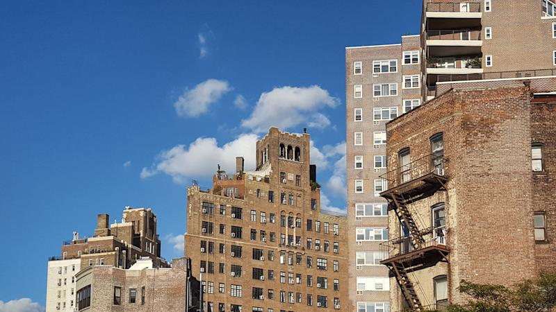 Geometries of different buildings along 7th Avenue in the West Village, Manhattan, New York City