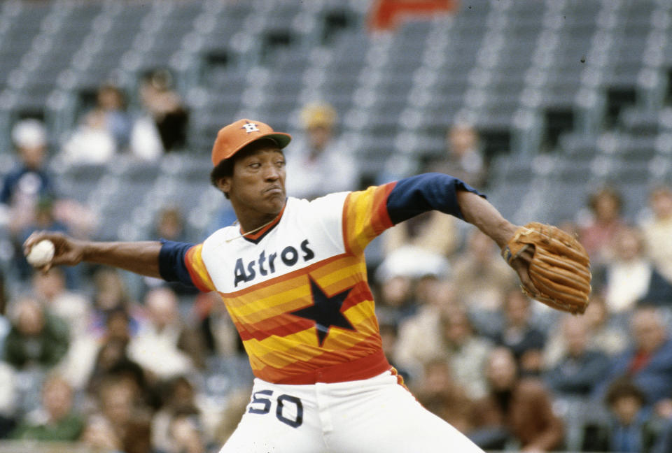 NEW YORK - CIRCA 1978:  J.R. Richard #50 of the Houston Astros pitches against the New York Mets during an Major League Baseball game circa 1978 at Shea Stadium in the Queens borough of New York City. J.R. Richard played for Astros from 1971-80. (Photo by Focus on Sport/Getty Images)