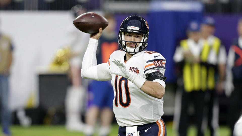 Chicago Bears quarterback Mitchell Trubisky struggled last season. (AP Photo/Andy Clayton-King)