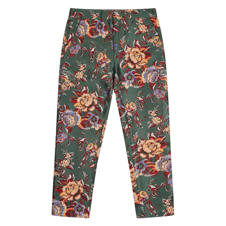 "<p><a rel=""nofollow"" href=""http://www.asos.com/asos-tall/asos-tall-floral-vintage-jacquard-cigarette-trousers/prd/7173044?iid=7173044&clr=Multi&SearchQuery=Jacquard%20trousers&pgesize=28&pge=0&totalstyles=28&gridsize=3&gridrow=1&gridcolumn=3""><em>ASOS, was, £40, now £24</em></a> </p>"