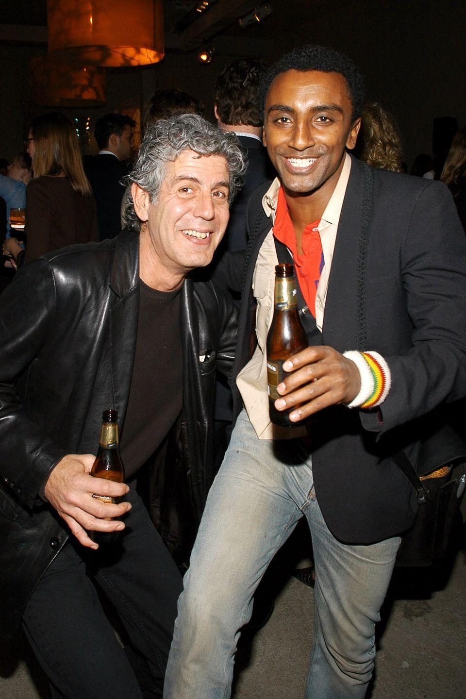 <p> Bourdain and Marcus Samuelsson, the chef behind Harlem's Red Rooster, pose for a picture during a <em>Food & Wine</em> magazine event in New York on March 29, 2005.</p>