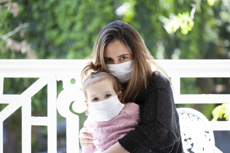 Public Health England has issued a warning about babies and very young children wearing face masks. (Getty Images)