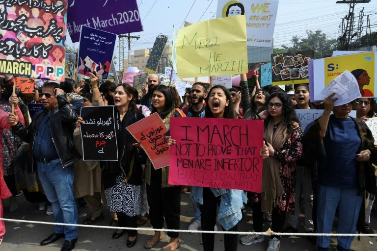 In Lahore, a crowd of several hundred women and men took to the streets