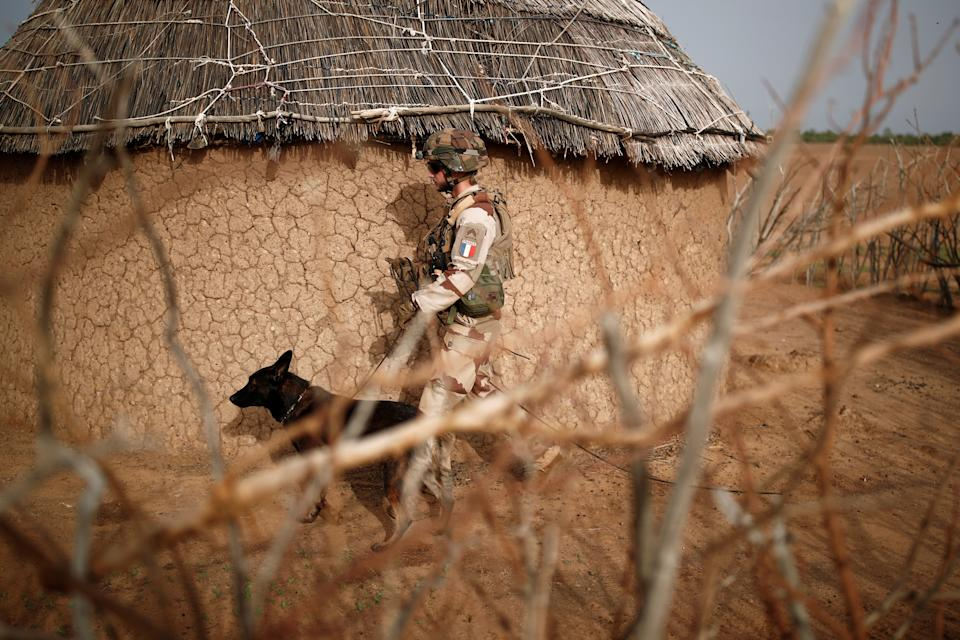 """A French soldier of the """"Belleface"""" Desert Tactical Group (GTD) uses a sniffer dog to check for explosives during an area control operation in the Gourma region during the Operation Barkhane in Ndaki, Mali, July 29, 2019. Picture taken July 29, 2019. REUTERS/Benoit Tessier"""