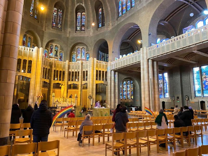 Parishioners attend a mass in the Belgium's national Koekelberg basilica in Brussels