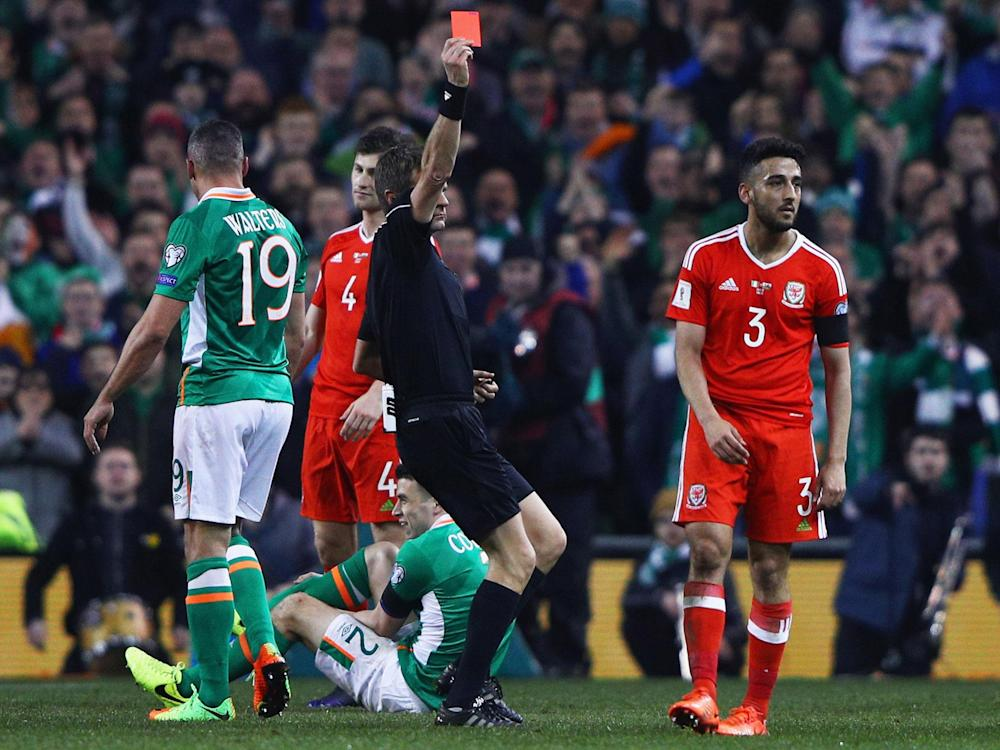 Neil Taylor was sent-off for his challenge on Republic of Ireland defender Seamus Coleman: Getty