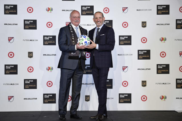 Liga MX executive president Enrique Bonilla (left) and MLS commissioner Don Garber announced Wednesday that the 2020 MLS All-Star game would feature the top players from North America's two best leagues. (Kelvin Kuo/USA Today)