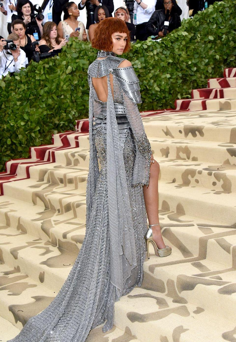 <p>Don't think I need to tell you that Zendaya knows how to dress for Met Galas. In 2018, she channeled Joan of Arc in this Versace dress and looked ready for both the runway and the battlefield.</p>