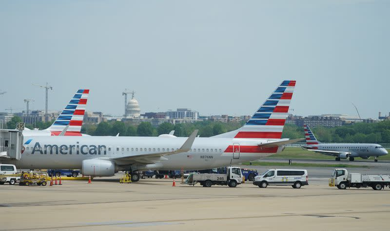 Boeing 737 jet sits at a gate at Washington's Reagan National airport with U.S. Capitol building in the background in Washington