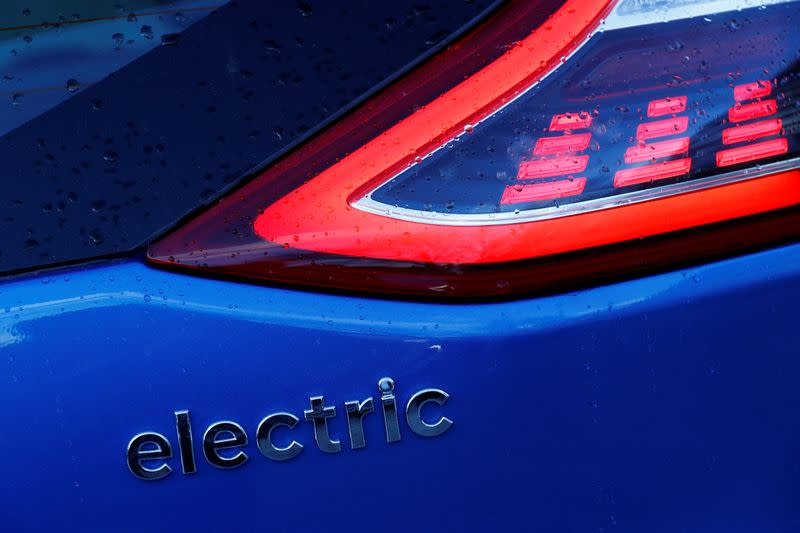 FILE PHOTO: A detail of an electric Hyundai car is seen in London