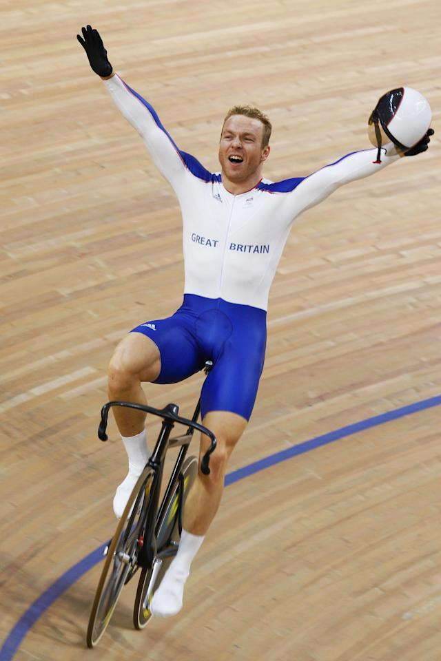 BEIJING - AUGUST 19: Chris Hoy of Great Britain celebrates the gold medal after defeating Jason Kenny of Great Britain in the Men's Sprint Finals in the track cycling event at the Laoshan Velodrome on Day 11 of the Beijing 2008 Olympic Games on August 19, 2008 in Beijing, China. (Photo by Jamie Squire/Getty Images)