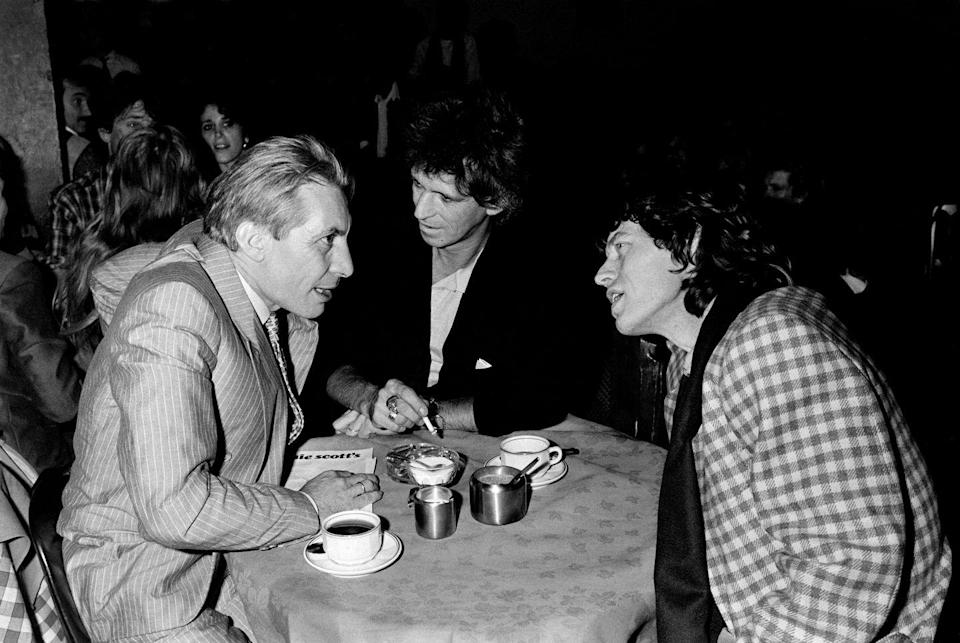 <p>(L-R) Charlie Watts, Keith Richards and Mick Jagger of The Rolling Stones spend a night at Ronnie Scott's in London, 18th November 1985.</p>