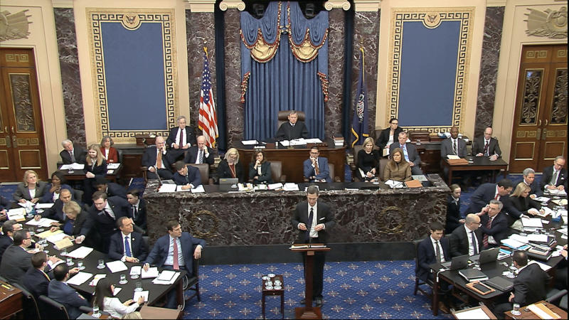 In this image from video, White House deputy counsel Patrick Philbin speaks during the impeachment trial against Trump in the Senate at the U.S. Capitol in Washington, Saturday, Jan. 25, 2020. (Senate Television via AP)