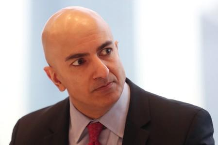 President of the Federal Reserve Bank on Minneapolis Neel Kashkari listens to a question during an interview in New York