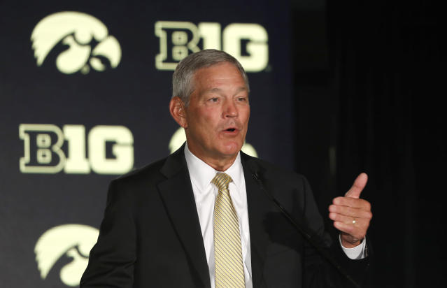 Kirk Ferentz is entering his 21st season at Iowa. (AP Photo/Charles Rex Arbogast)