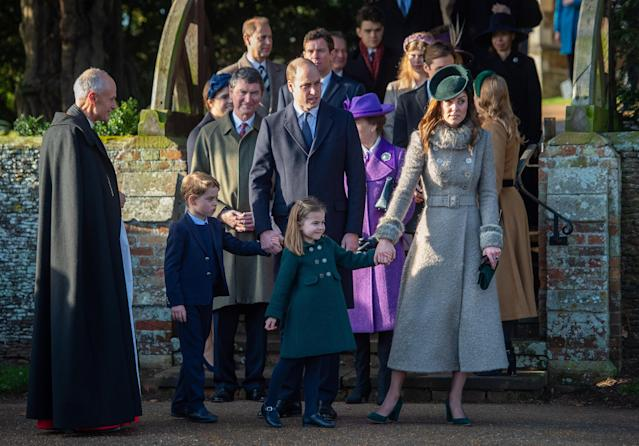 The Duke and Duchess of Cambridge with Prince George and Princess Charlotte after attending the Christmas Day morning church service in Sandringham, Norfolk. (PA)
