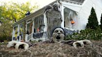<p>If your costume is a scary one, you'll blend right in with this haunted backdrop. </p>