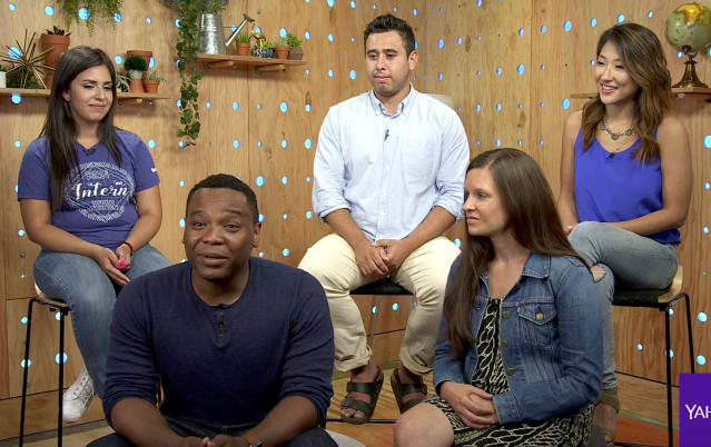 Facebook employees from left to right: former Training Specialist intern Vivian Rivas, Product Design Manager Tory Hargro, University Recruiter Oscar Perez, Product Marketing Communications Manager Karri Wells Wane, and Engineering Manager Sophia Chung.