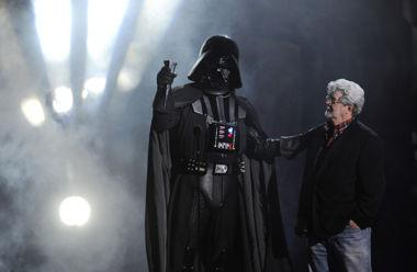 George Lucas, right, and Darth Vader